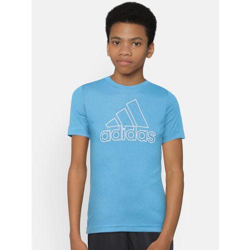 ADIDAS Boys Blue Climachill Round Neck Training T-shirt