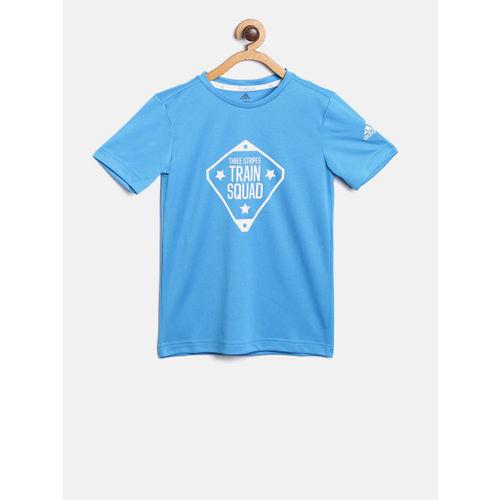 ADIDAS Boys Blue & White Printed YB TR SQUAD Round Neck Tshirt