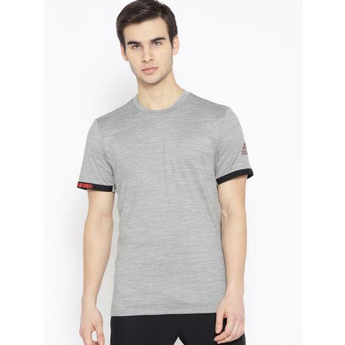ADIDAS Men Grey Self Striped Matchcode Tennis T-Shirt