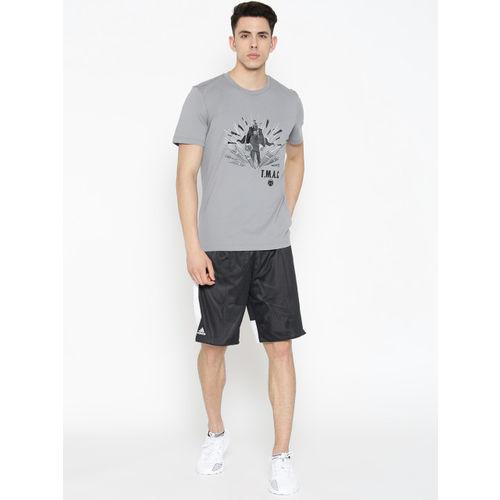 ADIDAS Men Grey & Black Printed TMAC Nick Fury Basketball T-shirt