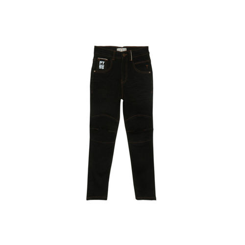 Palm Tree Boys Black Regular Fit Mid-Rise Clean Look Jeans