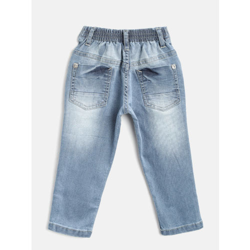 Palm Tree Boys Blue Regular Fit Mid-Rise Mildly Distressed Stretchable Jeans
