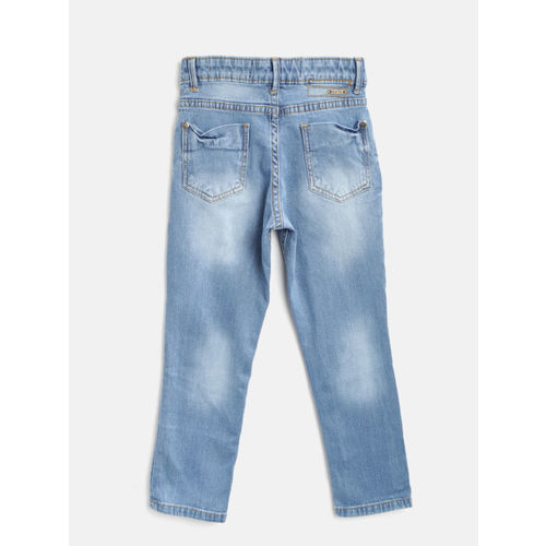Palm Tree Boys Blue Slim Fit Mid-Rise Mildly Distressed Stretchable Jeans