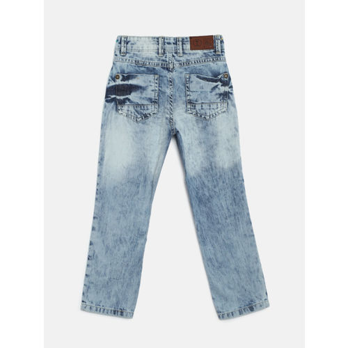 Palm Tree Boys Blue Regular Fit Mid-Rise Low Distress Jeans