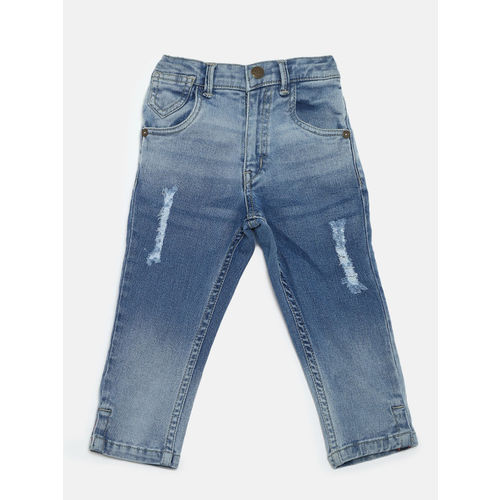 Palm Tree Boys Blue Regular Fit Mid-Rise Low Distress Stretchable Jeans