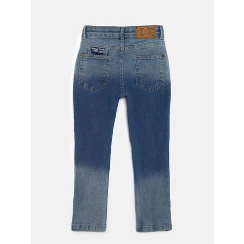 Palm Tree Boys Blue Slim Fit Mid-Rise Low Distress Stretchable Jeans