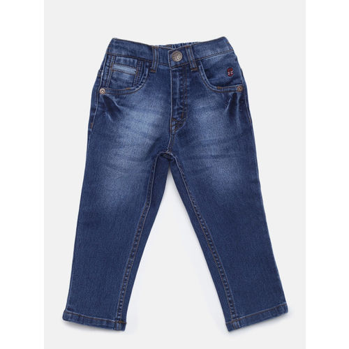Palm Tree Boys Blue Regular Fit Mid-Rise Clean Look Stretchable Jeans