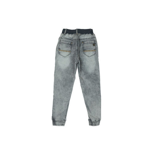 Palm Tree Boys Grey Regular Fit Mid-Rise Clean Look Jeans