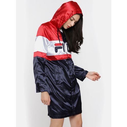 FILA Red & Navy Blue Colourblocked Longline Rain Jacket