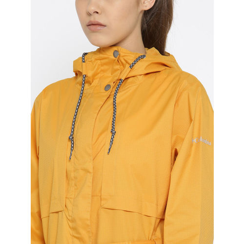 Columbia Women Yellow Self-Checked Pardon My Trench Waterproof Breathable Rain Jacket