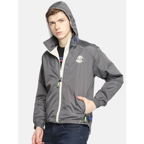 Sports52 wear Men Black & White Solid Rain Hooded Jacket S52W162624