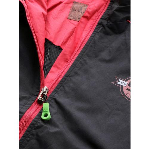 Sports52 wear Men Black & Red Solid Hooded Rain Jacket