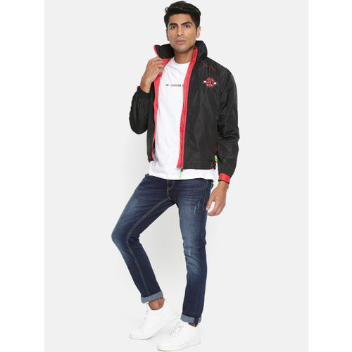 Sports52 wear Men Black & Red Solid Hooded Rain Jacket