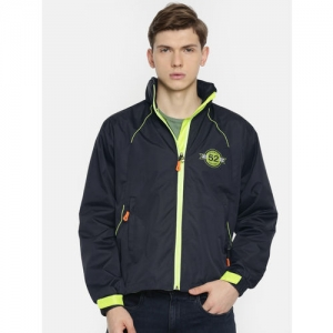 Sports52 wear Men Navy Blue & Fluorescent Green Solid Hooded Rain Jacket