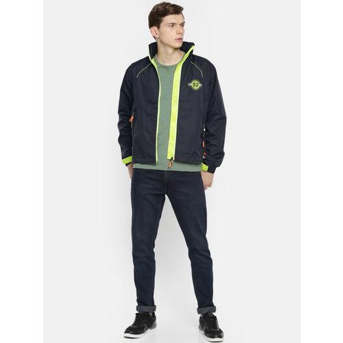 Sports52 wear Men Navy Blue & Fluorescent Green Solid Hooded Rain Jacket