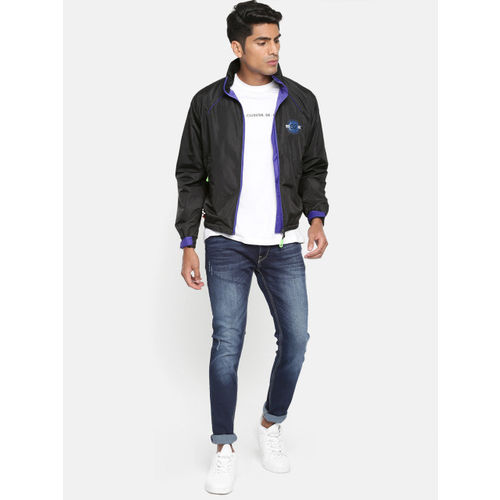 Sports52 wear Men Black & Blue Solid Hooded Rain Jacket