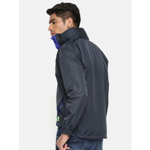Sports52 wear Men Navy Blue & Purple Solid Hooded Rain Jacket