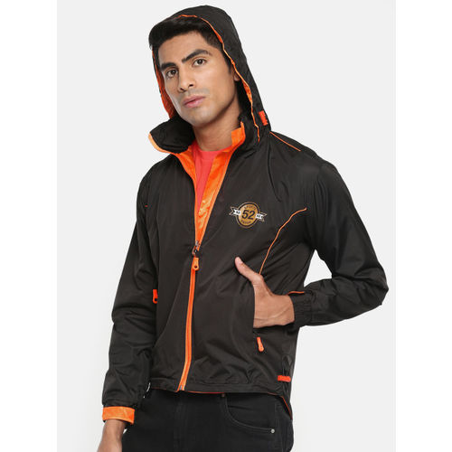 Sports52 wear Men Black & Neon Orange Solid Hooded Jacket S52W162652