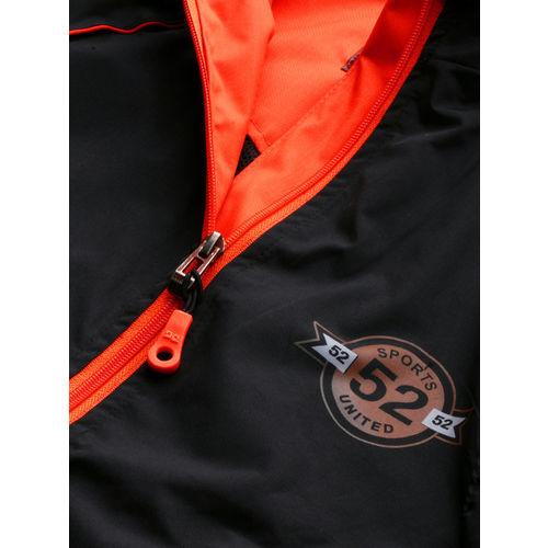 Sports52 wear Men Black & Orange Solid Hooded Rain Jacket