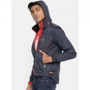 Sports52 wear Men Navy Blue & Red Solid Hooded Rain Jacket