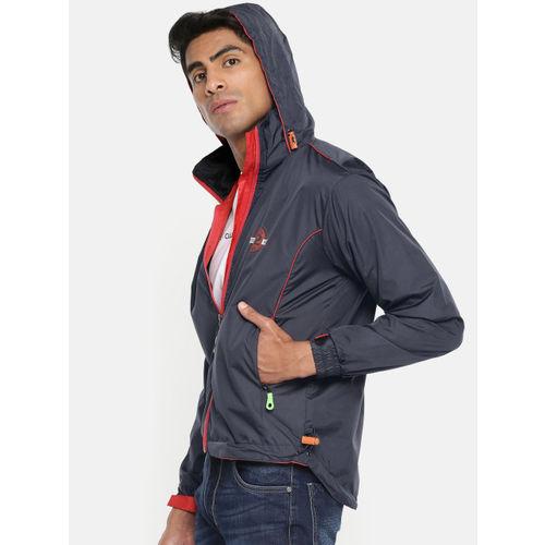 Sports52 wear Men Navy Blue & Red Solid Hooded Rain Jacket