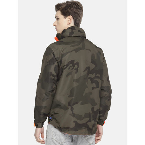 Sports52 wear Men Olive Green & Navy Blue Camouflage Printed Hooded Rain Jacket