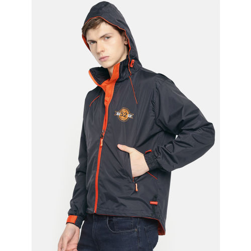 Sports52 wear Men Navy Blue & Orange Solid Hooded Rain Jacket