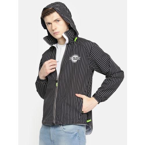 Sports52 wear Men Black & White Striped Hooded Jacket S52W162604