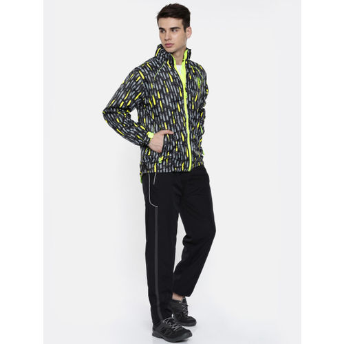 Sports52 Wear Black & Grey Printed Hodded Rain Jacket
