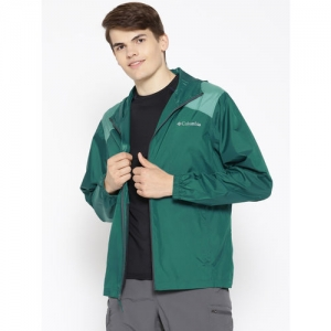 Columbia Men Green Solid Flashback Windbreaker Hooded Rain Jacket