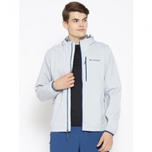 Columbia Men Grey Solid Mystic Trail Hooded Rain Jacket