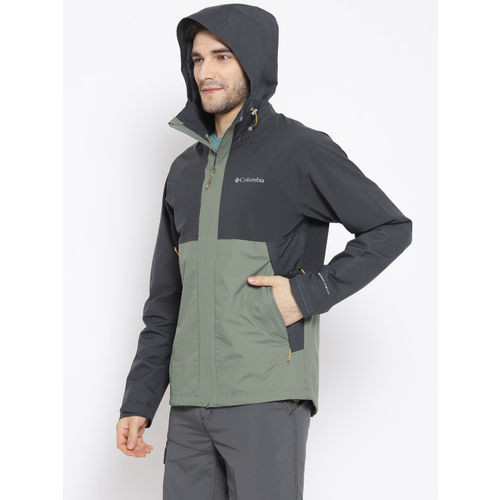 Columbia Charcoal Grey & Olive Green Evolution Valley Waterproof Breathable Rain Jacket
