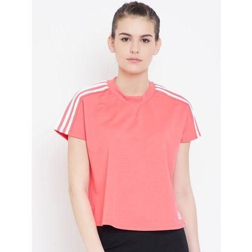 ADIDAS Women Orange Solid ATTEETUDE T-shirt