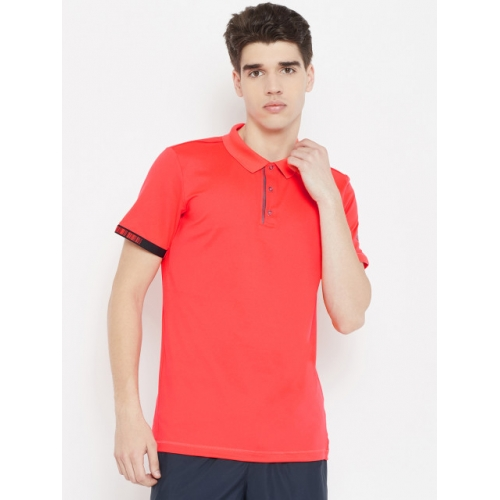 ADIDAS Men Coral Red Solid Tennis Matchcode Polo T-Shirt