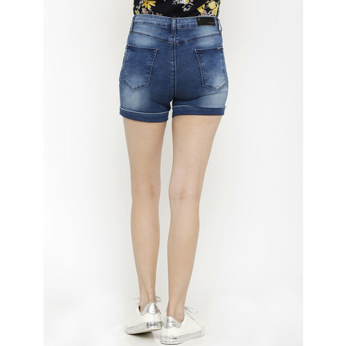 Kraus Jeans Women Blue Solid Skinny Fit Denim Shorts