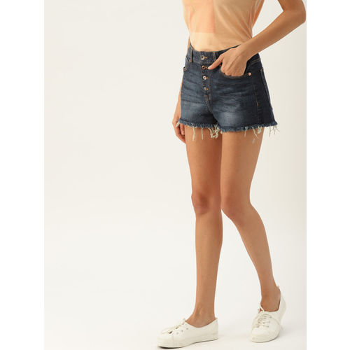 United Colors of Benetton Women Blue Washed Regular Fit Denim Shorts