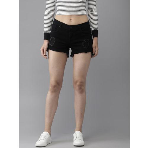 Moda Rapido Women Black Solid Regular Fit Distressed Denim Shorts