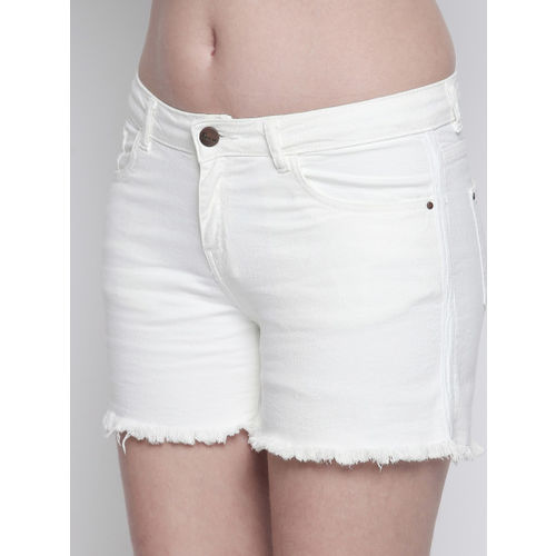 FREAKINS Women White Solid Regular Fit Denim Shorts