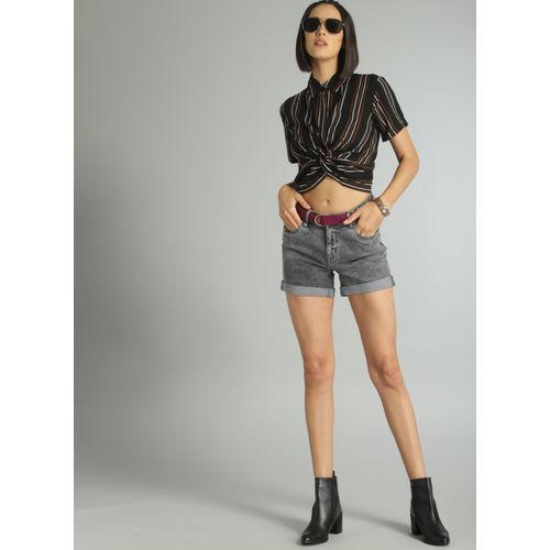 Roadster Grey Solid Regular Fit Denim Shorts