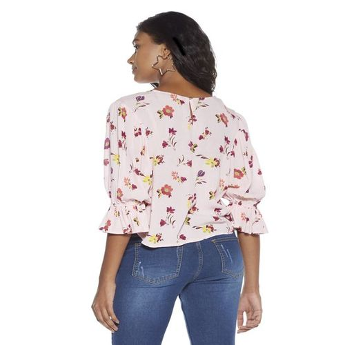 Nuon Women Nuon by Westside Pink Floral Blouse