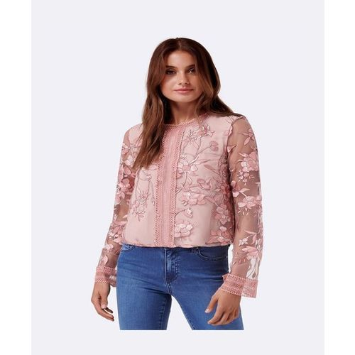 Forever New Blush Embroidery Top