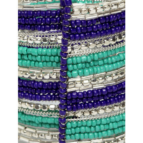 Moedbuille Turquoise Blue & Blue German Silver Silver-Plated Handcrafted Cuff Bracelet