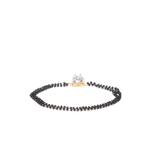 FIROZA Black Gold-Plated AD-Studded & Beaded Mangalsutra Bracelet with Earrings