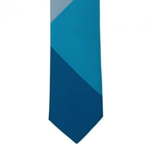 The Tie Hub Blue Colourblocked Broad Tie