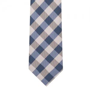 The Tie Hub Blue & Cream-Coloured Checked Skinny Tie
