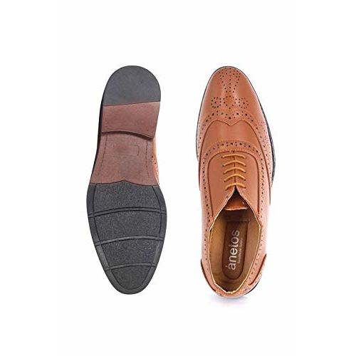 ANETOS Men's Synthetic Leather Ultra Comfort Formal Slip On Brogue Shoes