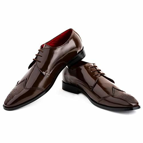 LOUIS STITCH Luxury Leather Men's Formal Shoes Brown Italian Oxfords    Exclusively Handmade Leather Shoes for Men    Italian Leather (Italy_CH)