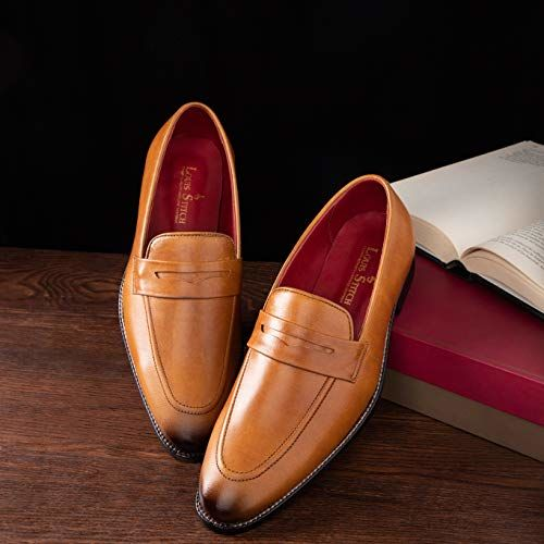 LOUIS STITCH Luxury Leather Men's Formal Shoes Brown Moccasins    Exclusively Handmade Leather Shoes for Men    100% Leather Inside Out ! (Britain_MC)