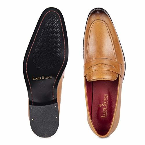 LOUIS STITCH Luxury Leather Men's Formal Shoes Brown Moccasins || Exclusively Handmade Leather Shoes for Men || 100% Leather Inside Out ! (Britain_MC)