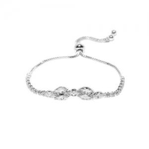 Amavi Women Silver-Toned Stone-Studded Charm Bracelet